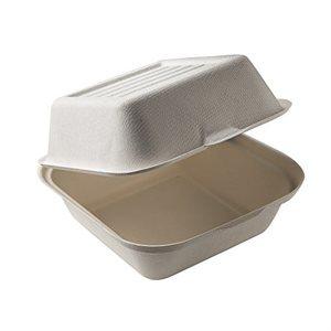 Boîte compostable, à hamburgers (6 x 6 x 3po) - 50 mcx.