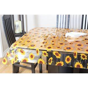 """Nappe de Table """"Tournesols Transparent"""", 54 Po x 25 Mètres"""