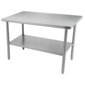 """Table de travail en acier inoxydable avec tablette et pattes en acier inoxydable 60"""" x 30"""" x 34"""""""