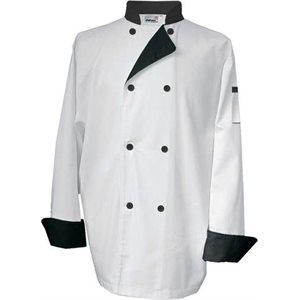 Veste De Cuisinier, Taille Moyenne, Blanc A Contraste Noir