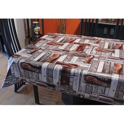 """Nappe de Table """"Wooden Cutlery"""", 54 Po x 20 Mètres"""