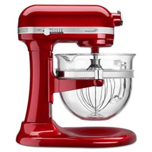 """Mixer, Stand, 6 Qt Glass Bowl, """"Professional 6500"""", Candy Red"""