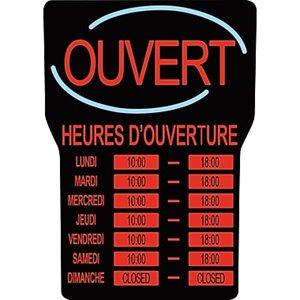 """Enseigne A Heure D'ouverture LED, Francais, """"Royal Sovereign® LED"""""""