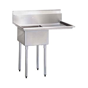 """Sink (Single), With Drainboard (Right Side), 24"""" Bowl Width"""