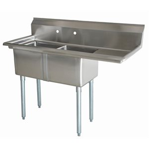 """Sink (Double), With Drainboard (Right Side), 18"""" Bowl Width"""