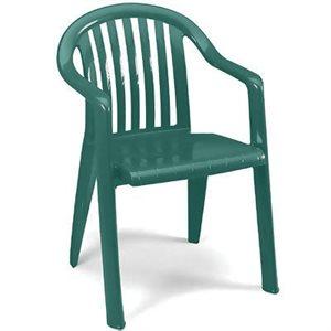Chaise A Dossier, Miami Bistro, Empilable, Vert Amazone