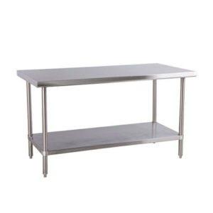 """Table En Acier Inoxydable, 2 Étages, 76 x 244 x 86 CM, """"Tzanet"""""""